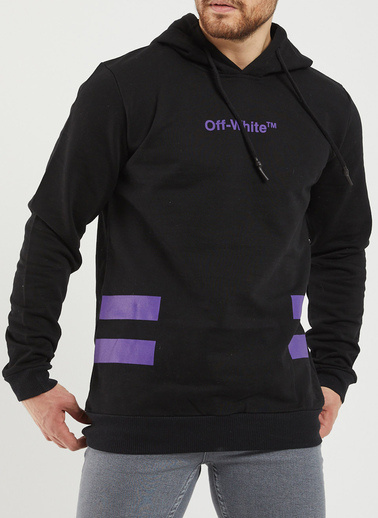 XHAN Siyah Arkası Baskılı Sweatshirt 1Kxe8-44362-02 Siyah